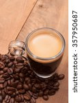 glass cup of espresso coffee on ... | Shutterstock . vector #357950687