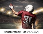 football player on a red... | Shutterstock . vector #357973664