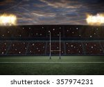 rugby stadium with fans wearing ... | Shutterstock . vector #357974231