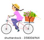 illustration of a woman using a ... | Shutterstock .eps vector #358006964
