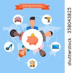 sharing economy and smart... | Shutterstock .eps vector #358043825