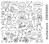 hand drawn love set. vector... | Shutterstock .eps vector #358050005