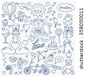 hand drawn love set on squared... | Shutterstock .eps vector #358050011