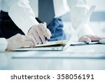 business people discussing the... | Shutterstock . vector #358056191