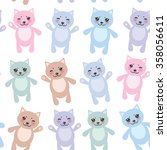 set funny cats  pastel colors... | Shutterstock . vector #358056611