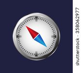 compass icon with red and blue...