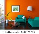 orange living room. 3d... | Shutterstock . vector #358071749