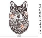 ornamental tattoo wolf head.... | Shutterstock .eps vector #358089749