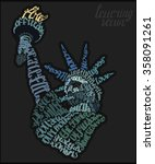 the statue of liberty lettering ... | Shutterstock .eps vector #358091261