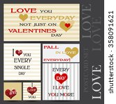 set of happy valentines day... | Shutterstock .eps vector #358091621