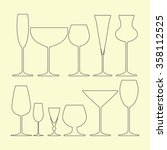 glasses set icon on the yellow... | Shutterstock .eps vector #358112525