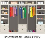 flat design walk in closet with ... | Shutterstock .eps vector #358114499