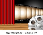 theater curtain with film strip ...