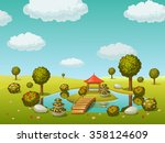 garden with lake and bridge | Shutterstock .eps vector #358124609