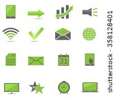 green web icon set  technology... | Shutterstock . vector #358128401