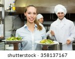 team of two chefs and young... | Shutterstock . vector #358137167