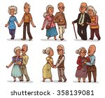Set Of Cute Cartoon Old Couple...