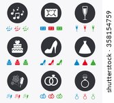 wedding  engagement icons. cake ... | Shutterstock .eps vector #358154759
