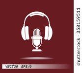 microphone with headphones sign ...   Shutterstock .eps vector #358159511