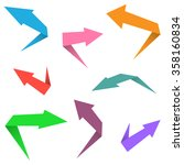 colorful paper arrow icon set... | Shutterstock . vector #358160834