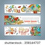 set of horizontal valentine's... | Shutterstock .eps vector #358164737