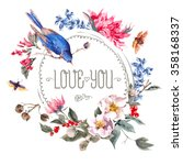 spring vintage round frame with ...   Shutterstock .eps vector #358168337