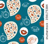 romantic seamless vector pattern | Shutterstock .eps vector #358175384