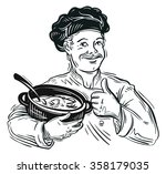 chef and pot. vector... | Shutterstock .eps vector #358179035