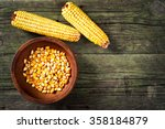 maize and ceramic bowl on... | Shutterstock . vector #358184879
