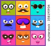 cartoon faces with emotions and ... | Shutterstock .eps vector #358195934