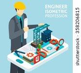 construction engineer in helmet ... | Shutterstock .eps vector #358206815