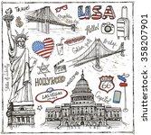 New York Doodle Set.american...