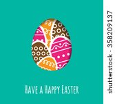 simple easter wishing card with ... | Shutterstock .eps vector #358209137