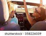 two female friends on road trip ... | Shutterstock . vector #358226039