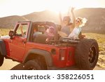 friends on road trip driving in ... | Shutterstock . vector #358226051