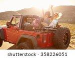 friends on road trip driving in ... | Shutterstock . vector #358226051
