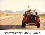 friends on road trip driving in ... | Shutterstock . vector #358226075