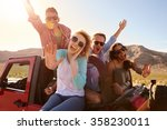 friends on road trip standing... | Shutterstock . vector #358230011