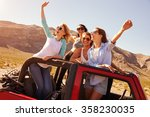 four female friends on road... | Shutterstock . vector #358230035