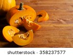 pumpkin slices with seeds on a...   Shutterstock . vector #358237577