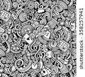 cartoon hand drawn doodles on... | Shutterstock .eps vector #358257941