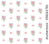 vector pattern with pink tulips ...   Shutterstock .eps vector #358261781