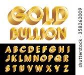 vector golden 3d alphabet | Shutterstock .eps vector #358262009