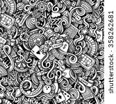 cartoon hand drawn doodles on... | Shutterstock . vector #358262681