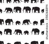 vector black elephants walking... | Shutterstock .eps vector #358268894