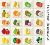 set of fruits flat  illustration | Shutterstock . vector #358284761