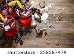 blackberry cocktail . making a... | Shutterstock . vector #358287479