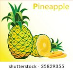 illustration of fresh pineapple | Shutterstock .eps vector #35829355