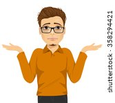 young man with glasses in doubt ... | Shutterstock .eps vector #358294421
