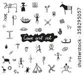 cave primitive art set   vector ... | Shutterstock .eps vector #358295057